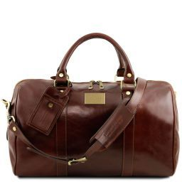 TL Voyager Travel leather duffle bag with pocket on the back side - Small size Brown TL141250