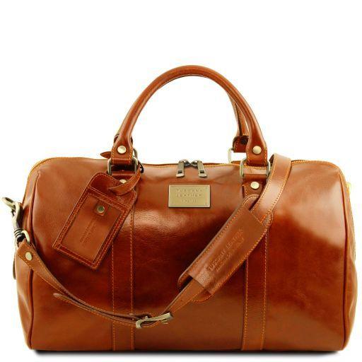 TL Voyager Дорожная кожаная сумка-даффл с карманом сзади - Малый размер Мед TL141250