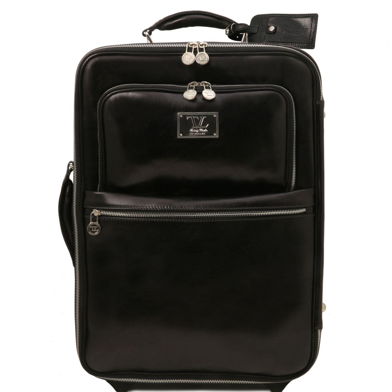 Bild av 2 Wheels vertical Leather trolley Black
