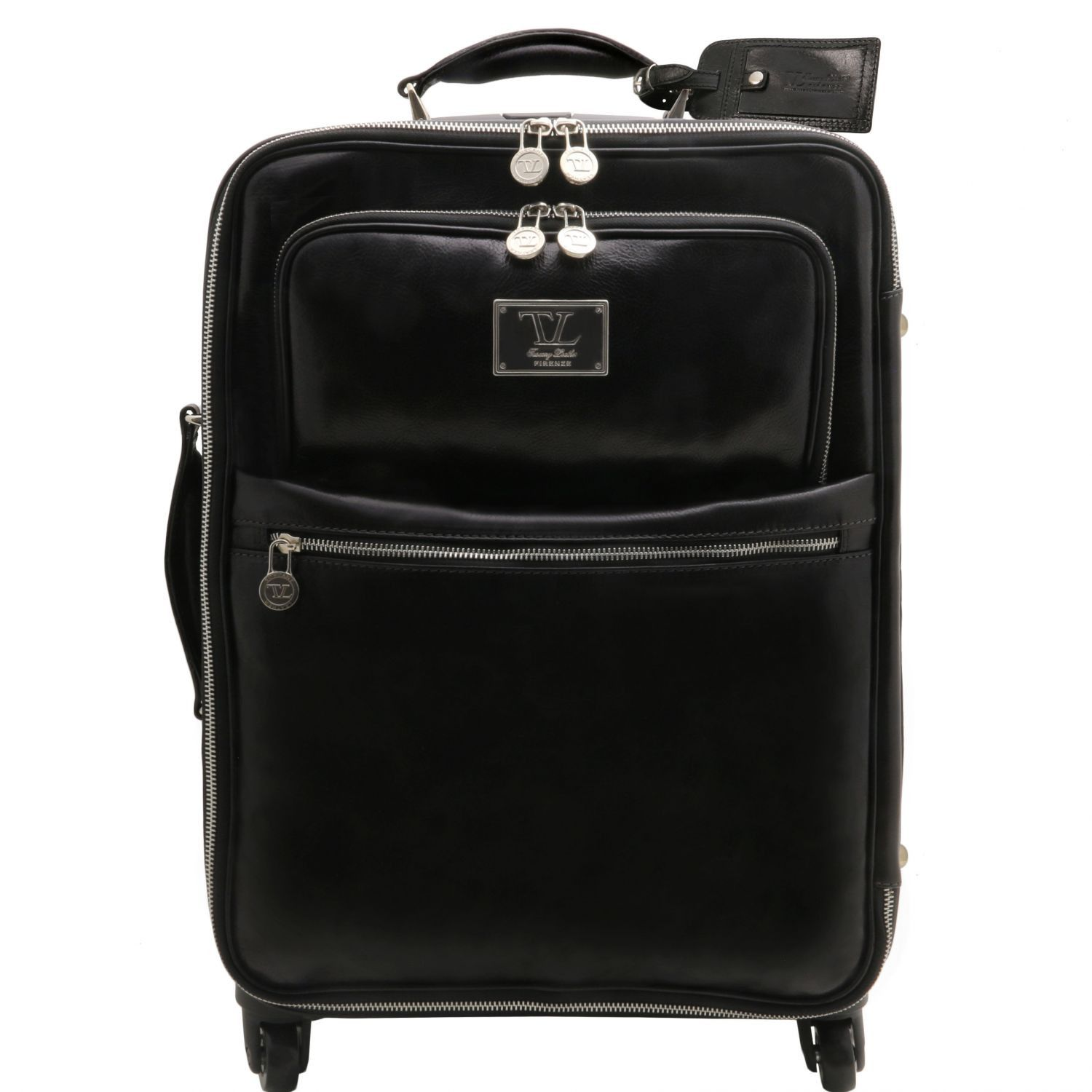 Bilde av 4 Wheels vertical leather trolley Black