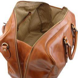 TL Voyager Borsa da viaggio in pelle con tasca frontale Miele TL141401