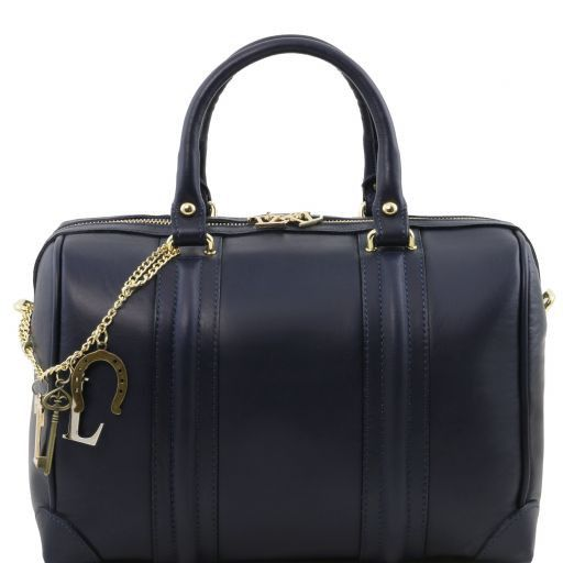 TL KeyLuck Soft leather duffle bag with golden hardwares Dark Blue TL141403