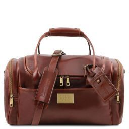 TL Voyager Travel leather bag with side pockets - Small size Brown TL141441
