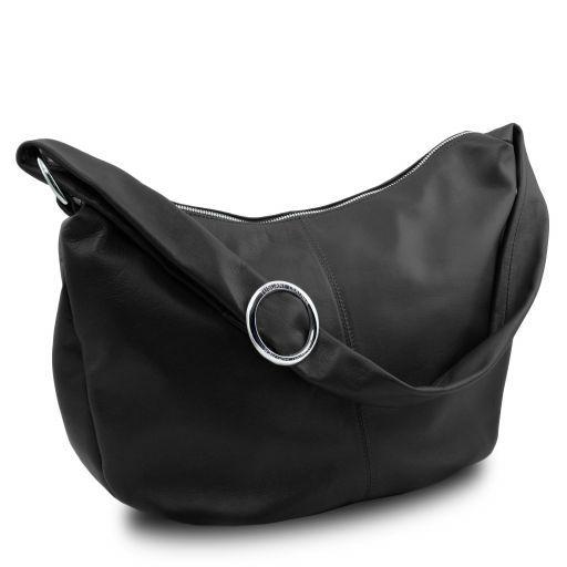 Yvette Soft leather hobo bag Black TL140900