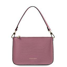 Cassandra Croc print leather clutch handbag Lilac TL141917