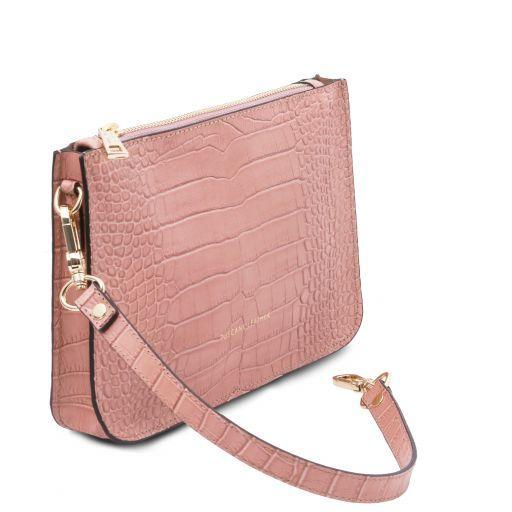 Cassandra Croc print leather clutch handbag Nude TL141917