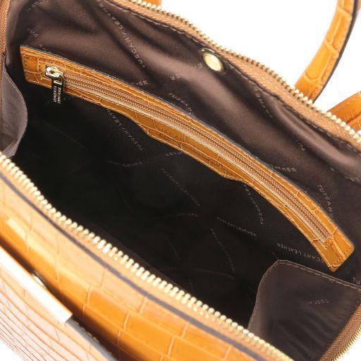 TL Bag Croc print leather backpack for women Коньяк TL141969