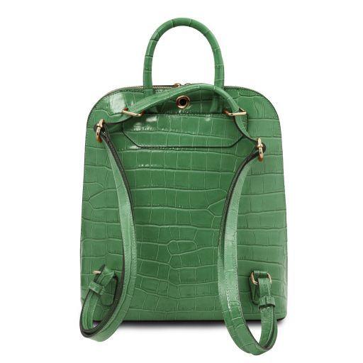 TL Bag Clutch aus Leder mit Kroko-Prägung Grün TL141969