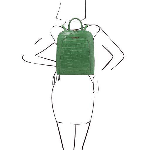 TL Bag Croc print leather backpack for women Зеленый TL141969