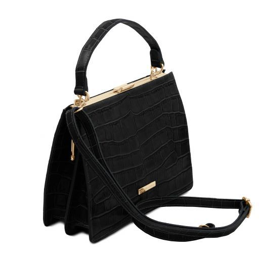 Iris Croc print leather handbag Черный TL141839