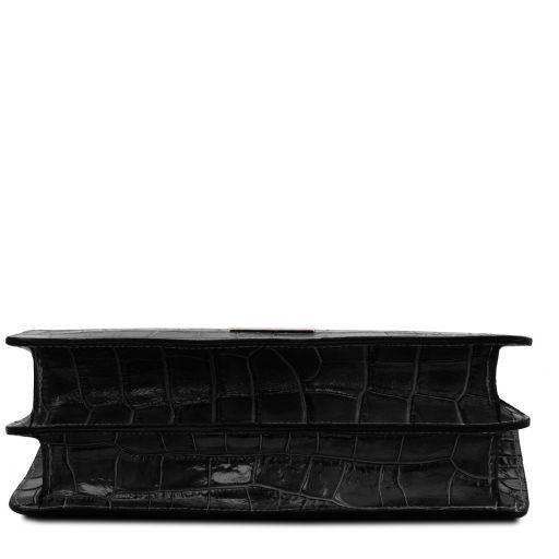 Iris Handtasche aus Leder mit Kroko-Prägung Schwarz TL141839