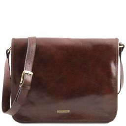TL Messenger Two compartments leather shoulder bag - Large size Brown TL141254