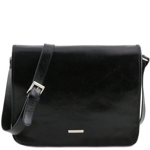 TL Messenger Кожаная сумка на плечо с 2 отделениями - Большой размер Черный TL141254
