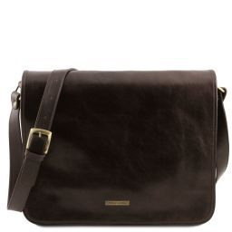 TL Messenger Two compartments leather shoulder bag - Large size Dark Brown TL141254