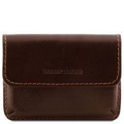 Porta tarjetas de visita en piel Marrón oscuro TL141378