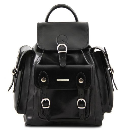 Pechino Exklusiver Rucksack aus Leder Schwarz TL9052