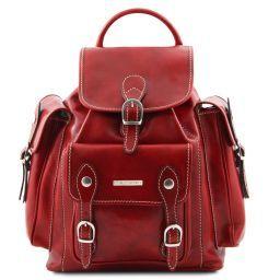 Pechino Exklusiver Rucksack aus Leder Rot TL9052