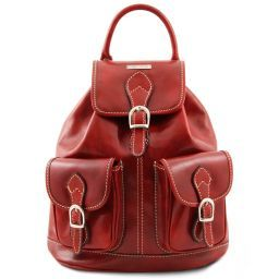 Tokyo Leather Backpack Red TL9035