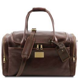 TL Voyager Travel leather bag with side pockets Dark Brown TL141296