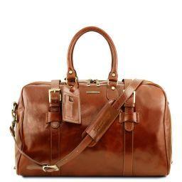 TL Voyager Reisetasche aus Leder mit Schnallen - Klein Honig TL141249