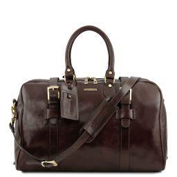 TL Voyager Дорожная кожаная сумка с пряжками - Малый размер Темно-коричневый TL141249