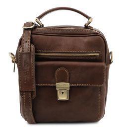 Brian Leather shoulder bag for man Dark Brown TL141978