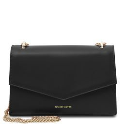 Fortuna Leather clutch with chain strap Black TL141944