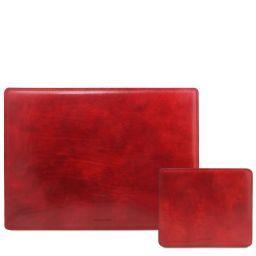 Office Set Sous-main de bureau et tapis de souris en cuir Rouge TL141980