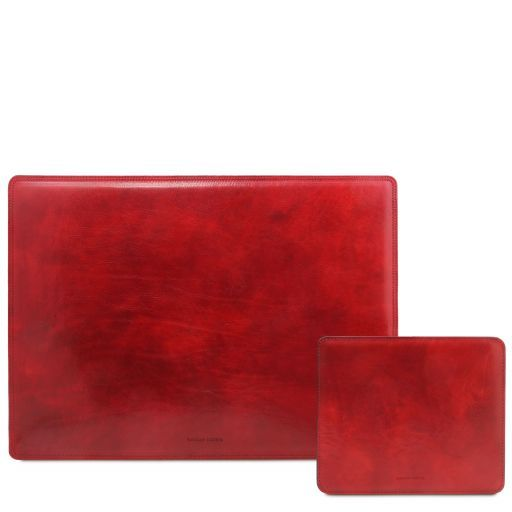 Office Set Carpeta de escritorio y alfombrilla en piel Rojo TL141980