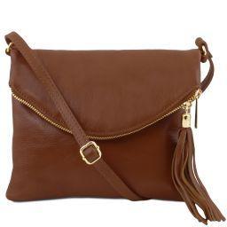 TL Young bag Schultertasche aus Leder mit Quasten Cinnamon TL141153