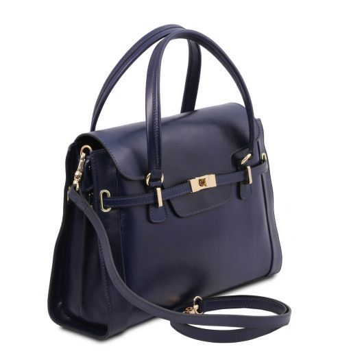 TL NeoClassic Lady leather handbag with twist lock Dark Blue TL141230
