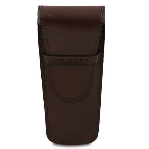 Elegante porta boligrafos a 2 espacios/porta reloj en piel Marrón oscuro TL141273