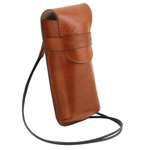 Эксклюзивный кожаный футляр для Очков/Смартфона Большой размер Мед TL141321