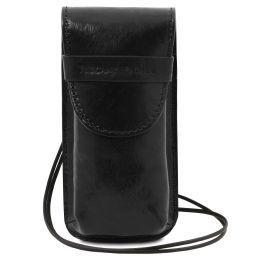 Exklusives Brillenetui aus Leder/Smartphone Etui aus Leder Gross Schwarz TL141321