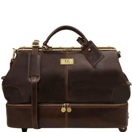 Siviglia Two wheeles double-bottom Gladstone leather bag Dark Brown TL141451