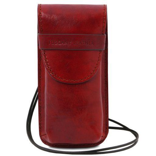 Exclusiva funda para gafas/Smartphone en piel con bandolera Modelo grande Rojo TL141321