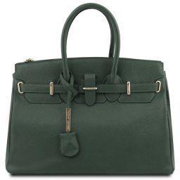 TL Bag Leather handbag with golden hardware Forest Green TL141529
