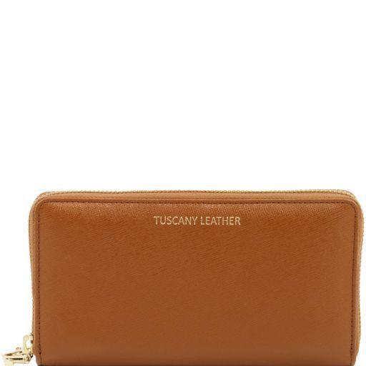 Esclusivo portafogli donna in pelle Saffiano a 2 scomparti con zip Cognac TL141462
