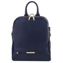 TL Bag Lederrucksack für Damen aus weichem Leder Dunkelblau TL141376