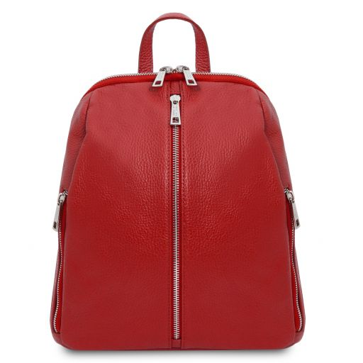 TL Bag Lederrucksack für Damen aus weichem Leder Lipstick Rot TL141982