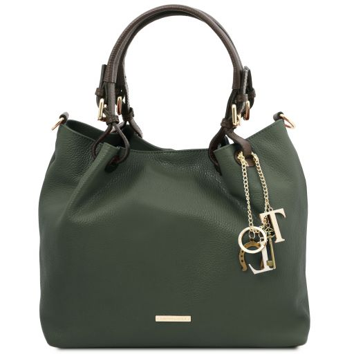 TL KeyLuck Soft leather shopping bag Forest Green TL141940