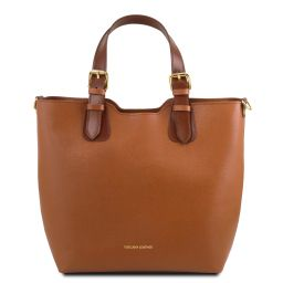 TL Bag Saffiano leather tote Cognac TL141696