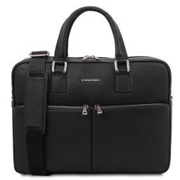 Treviso Leather laptop briefcase Black TL141986
