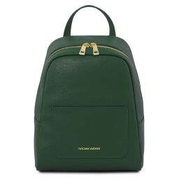 TL Bag Small Saffiano leather backpack for women Forest Green TL141701