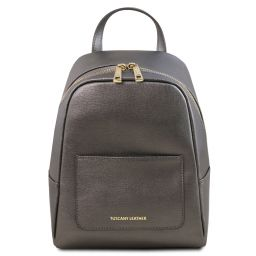 TL Bag Small Saffiano leather backpack for women Iron-grey TL141701