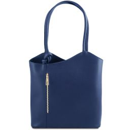 Patty Borsa donna convertibile a zaino in pelle Saffiano Blu scuro TL141455