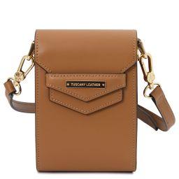 TL Bag Schultertasche aus Leder Cognac TL141996