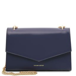 Fortuna Leather clutch with chain strap Dark Blue TL141944
