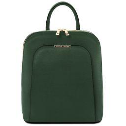 TL Bag Mochila para mujer en piel Saffiano Verde Oscuro TL141631