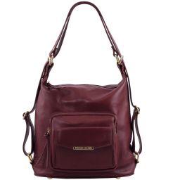 TL Bag Женская кожаная сумка-рюкзак 2 в 1 Bordeaux TL141535